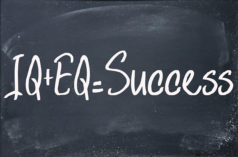 IQ plus emotional intelligence equals success formula on blackboard